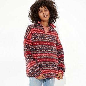 American Eagle Red Fairisle Sherpa Sweater large